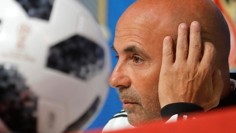 Argentina coach Jorge Sampaoli attends a news conference in St.Petersburg, Monday, June 25, 2018 on the eve of the group D match between Nigeria and Argentina at the 2018 soccer World Cup in the Saint Petersburg Arena. (AP Photo/Dmitri Lovetsky)
