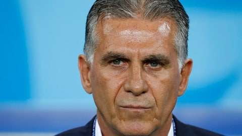 Iran head coach Carlos Queiroz prior to the group B match between Iran and Portugal at the 2018 soccer World Cup at the Mordovia Arena in Saransk, Russia, Monday, June 25, 2018. (AP Photo/Pavel Golovkin)