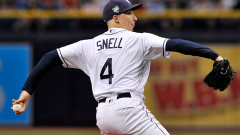 Tampa Bay Rays starter Blake Snell pitches against the Washington Nationals during the first inning of a baseball game Monday, June 25, 2018, in St. Petersburg, Fla. (AP Photo/Steve Nesius)