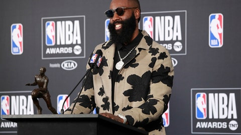 SANTA MONICA, CA - JUNE 25: James Harden #13 of the Houston Rockets talks to the media during a press conference after winning the Most Valuable Player Award at the NBA Awards Show on June 25, 2018 at the Barker Hangar in Santa Monica, California. (Photo by Will Navarro/NBAE via Getty Images)