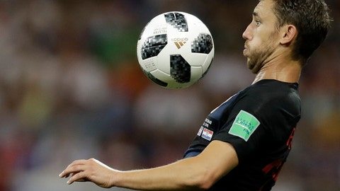 Croatia's Josip Pivaric prepares to chest the ball during the group D match between Iceland and Croatia, at the 2018 soccer World Cup in the Rostov Arena in Rostov-on-Don, Russia, Tuesday, June 26, 2018. (AP Photo/Natacha Pisarenko)