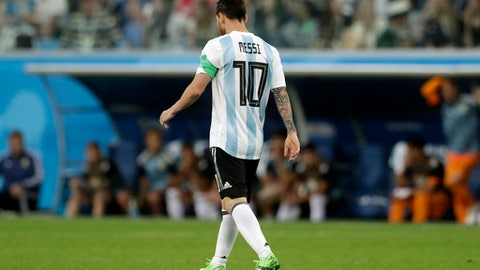 Argentina's Lionel Messi reacts after the opening goal of Nigeria during the group D match between Argentina and Nigeria, at the 2018 soccer World Cup in the St. Petersburg Stadium in St. Petersburg, Russia, Tuesday, June 26, 2018. (AP Photo/Petr David Josek)