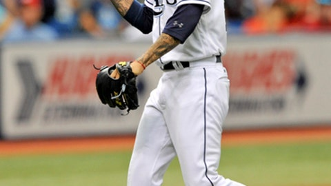 Tampa Bay Rays reliever Sergio Romo has words with Washington Nationals' Michael Taylor after striking him out to end the game and save a 1-0 victory during a baseball game Tuesday, June 26, 2018, in St. Petersburg, Fla. (AP Photo/Steve Nesius)