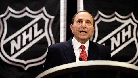 FILE - In this Jan. 9, 2013, file photo, NHL Commissioner Gary Bettman speaks during a news conference in New York. Bettman was selected to the Hockey Hall of Fame, Tuesday, June 26, 2018. (AP Photo/Frank Franklin II, File)