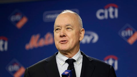 FILE - In this Wednesday, Jan. 17, 2018 file photo, New York Mets' general manager Sandy Alderson speaks at a news conference at Citi Field in New York. Mets general manager Sandy Alderson is taking a leave of absence because his cancer has returned. The 70-year-old made the announcement before the game against Pittsburgh, Tuesday, June 26, 2018. (AP Photo/Seth Wenig, File)