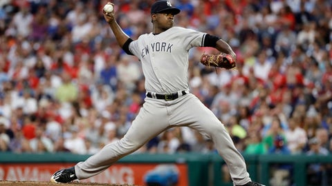 New York Yankees' Luis Severino pitches during the fourth inning of the team's baseball game against the Philadelphia Phillies, Tuesday, June 26, 2018, in Philadelphia. (AP Photo/Matt Slocum)