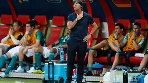 Germany head coach Joachim Loew looks on near the end of the group F match between South Korea and Germany, at the 2018 soccer World Cup in the Kazan Arena in Kazan, Russia, Wednesday, June 27, 2018. South Korea won the match 2-0. (AP Photo/Frank Augstein)