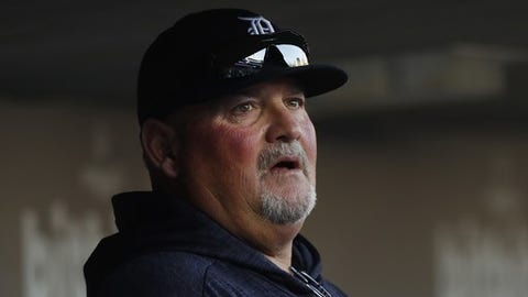 Detroit Tigers pitching coach Chris Bosio watches against the Kansas City Royals in the first inning of a baseball game in Detroit, Friday, April 20, 2018. (AP Photo/Paul Sancya)