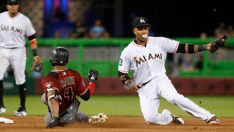 Arizona Diamondbacks' Ketel Marte (4) slides into second after hitting a double as Miami Marlins second baseman Starlin Castro attempts the tag during the fifth inning of a baseball game Wednesday, June 27, 2018, in Miami. (AP Photo/Wilfredo Lee)