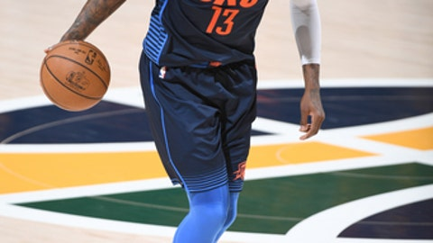 SALT LAKE CITY, UT - APRIL 27: Paul George #13 of the Oklahoma City Thunder handles the ball against the Utah Jazz in Game Six of the Western Conference Quarterfinals during the 2018 NBA Playoffs on April 27, 2018 at Vivint Smart Home Arena in Salt Lake City, Utah. (Photo by Garrett Ellwood/NBAE via Getty Images)
