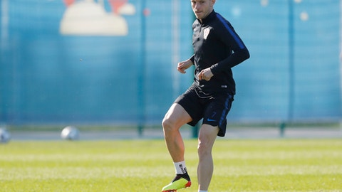 Croatia's Ivan Rakitic attends Croatia's official training in Roschino near St. Petersburg, Russia, Thursday, June 28, 2018, at the 2018 soccer World Cup. (AP Photo/Dmitri Lovetsky)