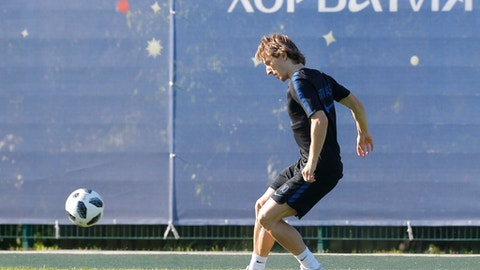 Croatia's Luka Modric attends Croatia's official training in Roschino near St. Petersburg, Russia, Thursday, June 28, 2018, at the 2018 soccer World Cup. (AP Photo/Dmitri Lovetsky)