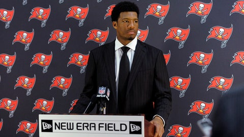 FILE - In this Oct. 22, 2017, file photo, Tampa Bay Buccaneers quarterback Jameis Winston speaks during a news conference after an NFL football game against the Buffalo Bills, in Orchard Park, N.Y. Winston was notified Thursday, June 28, 2018, by the NFL Special Counsel for Conduct, that he has been suspended without pay for the Buccaneers' first three regular-season games for a violation of the NFL's Personal Conduct Policy.(AP Photo/Adrian Kraus, File)