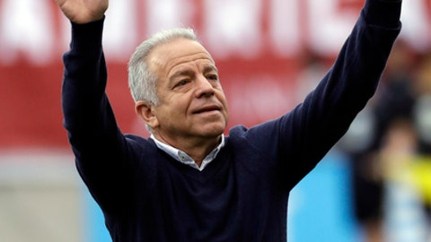 FILE - In this May 28, 2018, file photo, United States' Dave Sarachan gestures during an international friendly soccer match against Bolivia, in Chester, Pa. Sarachan's contract as interim U.S. soccer coach has been extended through the end of the year by the U.S. Soccer Federation. The USSF said Wednesday, June 27, 2018, it also had extended the contracts of assistant coaches Richie Williams and Matt Reis.(AP Photo/Matt Slocum, File)
