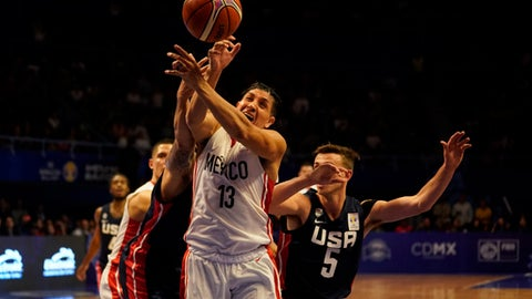 MEXICO CITY, MEXICO - JUNE 28: Orlando Mendez of Mexico competes against David Stockton of USA during the match between Mexico and USA as part of the FIBA World Cup China 2019 Qualifiers at Gimnasio Juan de la Barrera on June 28, 2018 in Mexico City, Mexico. (Photo by Luis Licona/Getty Images)