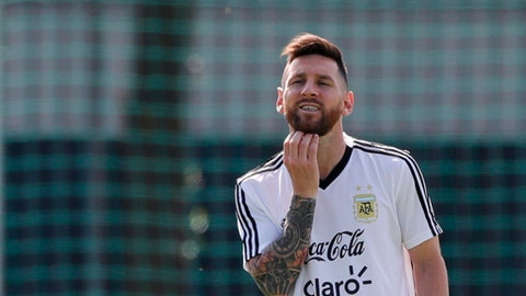 Lionel Messi during a training session of Argentina at the 2018 soccer World Cup in Bronnitsy, Russia, Friday, June 29, 2018. (AP Photo/Ricardo Mazalan)
