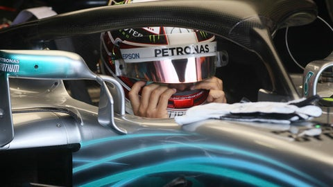 Mercedes driver Lewis Hamilton of Britain prepares at pits during the first free practice at the Red Bull Ring in Spielberg, southern Austria, Friday, June 29, 2018. The Formula One race will be held on Sunday. (AP Photo/Ronald Zak)