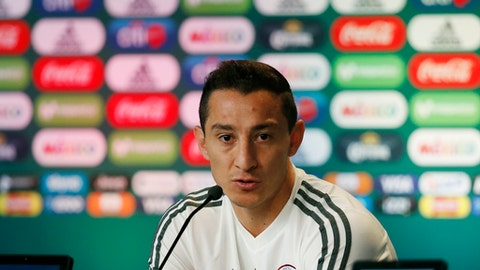 Mexico's Andres Guardado, attend a press conference before a training session of Mexico at the 2018 soccer World Cup in Moscow, Russia, Friday, June 29, 2018. (AP Photo/Eduardo Verdugo)