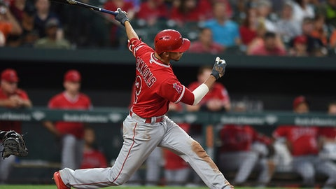 Los Angeles Angels' Andrelton Simmons follows through on a double against the Baltimore Orioles during the sixth inning of baseball game Friday, June 29, 2018, in Baltimore. (AP Photo/Gail Burton)