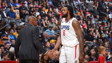 LOS ANGELES, CA - APRIL 11: Head Coach Doc Rivers and DeAndre Jordan #6 of the LA Clippers during the game against the Los Angeles Lakers on April 11, 2018 at STAPLES Center in Los Angeles, California. (Photo by Adam Pantozzi/NBAE via Getty Images)