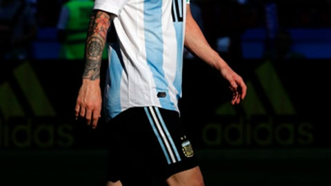 Argentina's Lionel Messi walks on he pitch during the round of 16 match between France and Argentina, at the 2018 soccer World Cup at the Kazan Arena in Kazan, Russia, Saturday, June 30, 2018. (AP Photo/David Vincent)