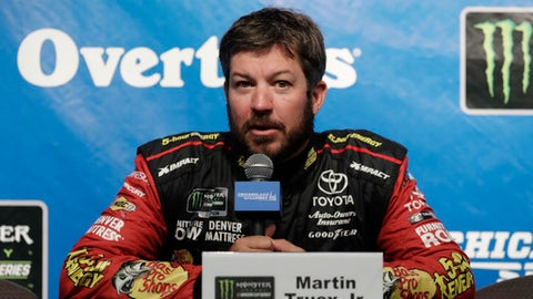 Martin Truex Jr., speaks at a news conference at Chicagoland Speedway in Joliet, Ill., Saturday, June 30, 2018. (AP Photo/Nam Y. Huh)