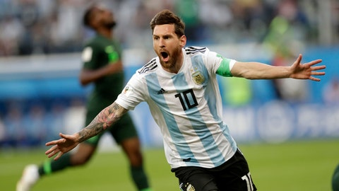 FILE - In this file photo from June 26, 2018, Argentina captain Lionel Messi celebrates after scoring the opening goal of his team during the Group D match between Argentina and Nigeria, at the 2018 World Cup in St. Petersburg, Russia. (AP Photo/Petr David Josek, File)