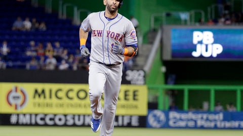 New York Mets' Jose Bautista runs the bases after hitting a solo home run during the first inning of a baseball game against the Miami Marlins, Saturday, June 30, 2018, in Miami. (AP Photo/Lynne Sladky)