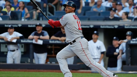 Boston Red Sox's Rafael Devers connects for a grand slam against the New York Yankees during the first inning of a baseball game, Saturday, June 30, 2018, in New York. (AP Photo/Julie Jacobson)