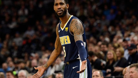 MINNEAPOLIS, MN - APRIL 11: Will Barton #5 of the Denver Nuggets reacts during the game against the Minnesota Timberwolves on April 11, 2018 at the Target Center in Minneapolis, Minnesota. The Timberwolves defeated the Nuggets 112-106. (Photo by Hannah Foslien/Getty Images)