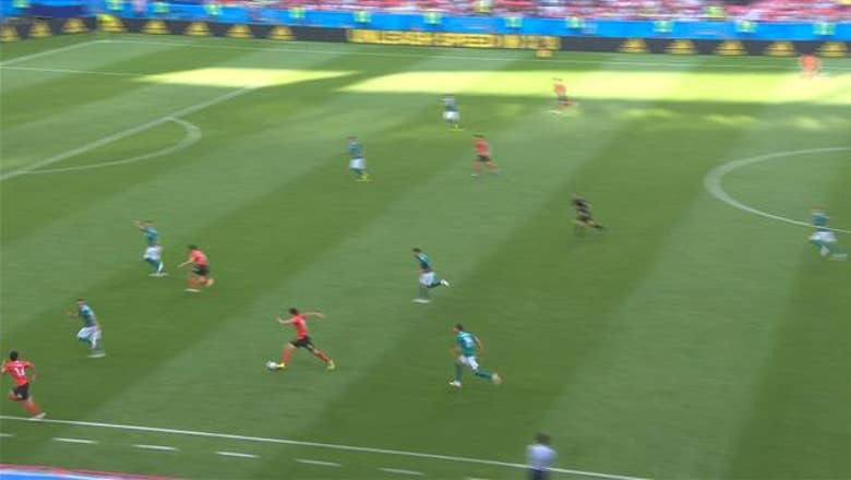 JUNG W. (Korea Republic) has a shot which is on target