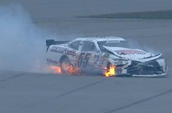 Brandon Hightower involved in fiery wreck at Michigan   2018 NASCAR XFINITY SERIES   FOX NASCAR