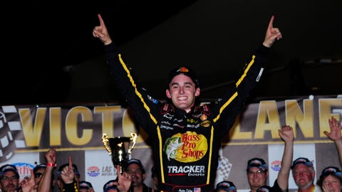 FORT WORTH, TX - JUNE 08:  Johnny Sauter, driver of the #21 ISM Connect Chevrolet, celebrates after winning the NASCAR Camping World Truck Series PPG 400 at Texas Motor Speedway on June 8, 2018 in Fort Worth, Texas.  (Photo by Robert Laberge/Getty Images)