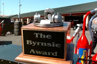 Bryson Byrnes presents the fourth annual Byrnsie Award to Jimmie Johnson
