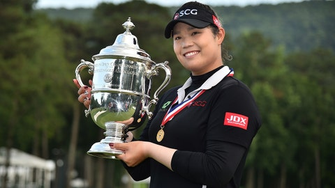 Jun 3, 2018; Shoal Creek, AL, USA; Ariya Jutanugarn holds the championship trophy after defeating Hyo-Joo Kim in a sudden death playoff in the U.S. Women's Open Championship golf tournament at Shoal Creek. Mandatory Credit: Jasen Vinlove-USA TODAY Sports