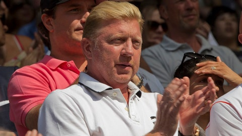 Jul 4, 2014; London, United Kingdom; Boris Becker in attendance for the Grigor Dimitrov (BUL) and Novak Djokovic (SRB) match on day 11 of the 2014 Wimbledon Championships at the All England Lawn and Tennis Club. Mandatory Credit: Susan Mullane-USA TODAY Sports