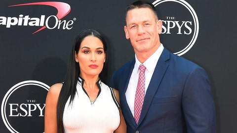 July 12, 2017; Los Angeles, CA, USA; WWE wrestler John Cena with Nikki Bella arrive for the 2017 ESPYS at Microsoft Theater. Mandatory Credit: Jayne Kamin-Oncea-USA TODAY Sports