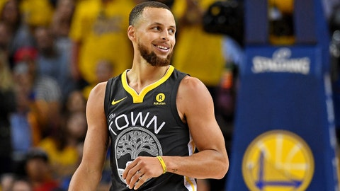 June 3, 2018; Oakland, CA, USA; Golden State Warriors guard Stephen Curry (30) reacts during the fourth quarter against the Cleveland Cavaliers in game two of the 2018 NBA Finals at Oracle Arena. Mandatory Credit: Kyle Terada-USA TODAY Sports