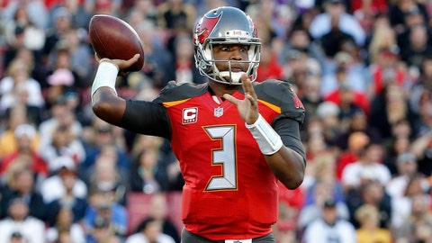Dec 31, 2017; Tampa, FL, USA; Tampa Bay Buccaneers quarterback Jameis Winston (3) throws the ball against the New Orleans Saints during the second quarter at Raymond James Stadium. Mandatory Credit: Kim Klement-USA TODAY Sports