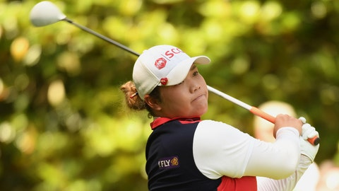 Jun 2, 2018; Shoal Creek, AL, USA; Ariya Jutanugarn tees off on the third hole during the third round of the U.S. Women's Open Championship golf tournament at Shoal Creek. Mandatory Credit: John David Mercer-USA TODAY Sports