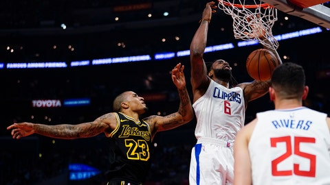 Apr 11, 2018; Los Angeles, CA, USA; Los Angeles Clippers center DeAndre Jordan (6) dunks the ball in front of Los Angeles Lakers guard Gary Payton II (23) during the second quarter at Staples Center. Mandatory Credit: Kelvin Kuo-USA TODAY Sports