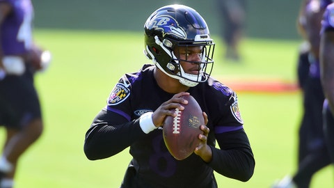 Jun 12, 2018; Owings Mills, MD, USA; Baltimore Ravens quarterback Lamar Jackson (8) looks to throw during minicamp at the Under Armour Performance Center. Mandatory Credit: Evan Habeeb-USA TODAY Sports
