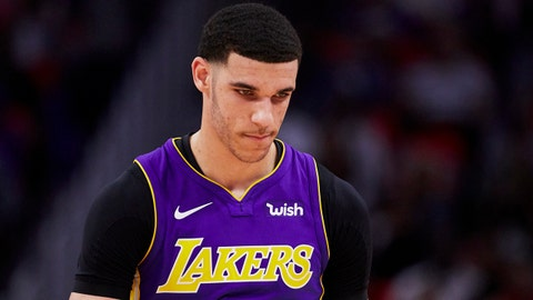 Mar 26, 2018; Detroit, MI, USA; Los Angeles Lakers guard Lonzo Ball (2) reacts during the second half against the Detroit Pistons at Little Caesars Arena. Mandatory Credit: Rick Osentoski-USA TODAY Sports