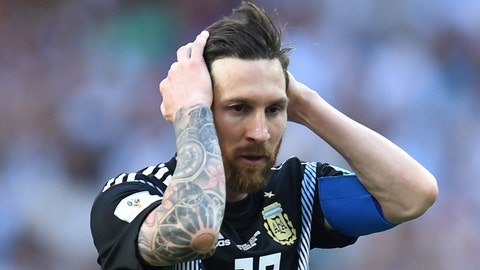 Jun 16, 2018; Moscow, Russia; Argentina forward Lionel Messi (10) reacts in Group D play against Iceland during the FIFA World Cup 2018 at Spartak Stadium. Mandatory Credit: Tim Groothuis/Witters Sport via USA TODAY Sports