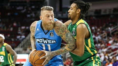 Jun 22, 2018; Houston, TX, USA; Power Chris Anderson (11) dribbles the ball as Ball Hogs Josh Childress (7) defends during the game at Toyota Center. Mandatory Credit: Troy Taormina-USA TODAY Sports