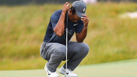 Jun 14, 2018; Southampton, NY, USA; Tiger Woods reacts on the sixteenth green during the first round of the U.S. Open golf tournament at Shinnecock Hills GC - Shinnecock Hills Golf C. Mandatory Credit: Dennis Schneidler-USA TODAY Sports