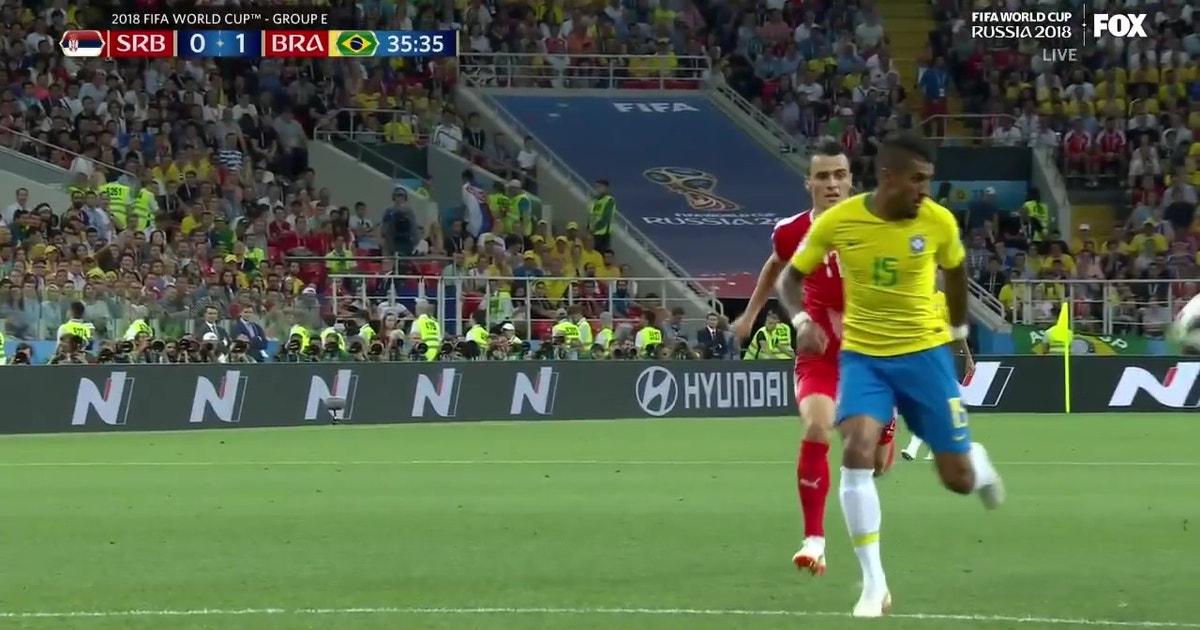 5399861683820 Paulinho finishes a beautiful run to put Brazil on the board