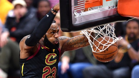 CLEVELAND, OH - JUNE 06:  LeBron James #23 of the Cleveland Cavaliers dunks against the Golden State Warriors in the first quarter during Game Three of the 2018 NBA Finals at Quicken Loans Arena on June 6, 2018 in Cleveland, Ohio. NOTE TO USER: User expressly acknowledges and agrees that, by downloading and or using this photograph, User is consenting to the terms and conditions of the Getty Images License Agreement.  (Photo by Jamie Sabau/Getty Images)