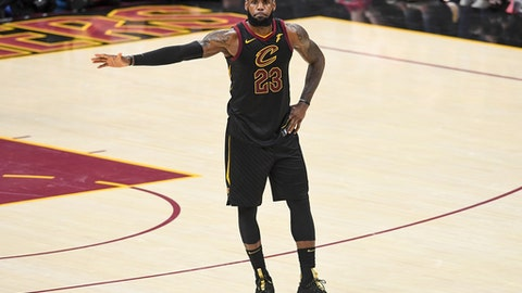 CLEVELAND, OH - JUNE 08:  LeBron James #23 of the Cleveland Cavaliers reacts against the Golden State Warriors during Game Four of the 2018 NBA Finals at Quicken Loans Arena on June 8, 2018 in Cleveland, Ohio. (Photo by Jason Miller/Getty Images)
