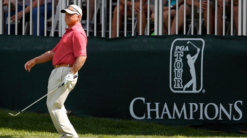 Scott Parel reacts after missing his shot on the 18th green during the second round of the PGA Tour Champions Principal Charity Classic golf tournament, Saturday, June 9, 2018, in Des Moines, Iowa. (AP Photo/Charlie Neibergall)